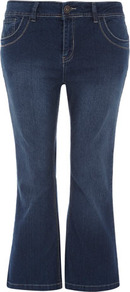 Extra Short Bootcut Jeans - style: bootcut; length: standard; pattern: plain; pocket detail: traditional 5 pocket; waist: mid/regular rise; predominant colour: navy; occasions: casual; fibres: cotton - stretch; jeans detail: shading down centre of thigh, washed/faded; texture group: denim; pattern type: fabric