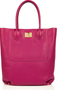 Fuchsia Leather Shopper - predominant colour: hot pink; occasions: casual; type of pattern: standard; style: tote; length: handle; size: standard; material: leather; pattern: plain; finish: plain