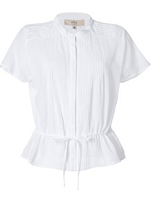White Cotton Pintucked Shirt - pattern: plain; style: shirt; waist detail: belted waist/tie at waist/drawstring; bust detail: ruching/gathering/draping/layers/pintuck pleats at bust; predominant colour: white; occasions: casual, work, holiday; length: standard; neckline: collarstand; fibres: cotton - 100%; fit: tailored/fitted; sleeve length: short sleeve; sleeve style: standard; texture group: cotton feel fabrics; pattern type: fabric