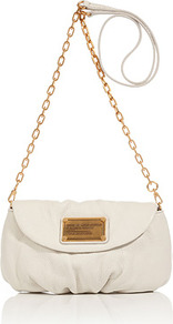 White Birch Leather Karlie Crossbody Bag - predominant colour: white; occasions: casual, evening; style: shoulder; length: shoulder (tucks under arm); size: small; material: leather; pattern: plain; finish: plain; embellishment: chain/metal