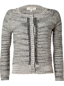 Tonal Grey Variegated Knit Cotton Linen Cardigan - neckline: round neck; pattern: plain; hip detail: fitted at hip; predominant colour: light grey; occasions: casual, work; length: standard; style: standard; fibres: cotton - mix; fit: slim fit; sleeve length: 3/4 length; sleeve style: standard; texture group: knits/crochet; pattern type: knitted - other; pattern size: standard