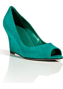 Turquoise Suede Peep Toe Wedges - predominant colour: turquoise; occasions: casual, evening, work, occasion; material: suede; heel height: mid; heel: wedge; toe: open toe/peeptoe; style: courts; finish: plain; pattern: plain