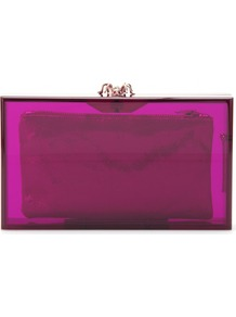 Pandora Colour Box Clutch - predominant colour: magenta; occasions: evening, occasion; style: clutch; length: hand carry; size: small; material: plastic/rubber; pattern: plain; finish: plain