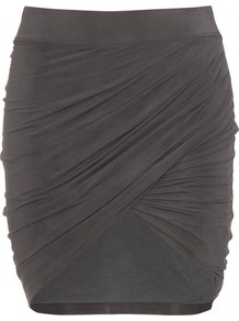 Shade Draped Skirt - length: mid thigh; pattern: plain; fit: tight; waist detail: elasticated waist; waist: mid/regular rise; predominant colour: charcoal; occasions: casual, evening, holiday; style: asymmetric (hem); fibres: viscose/rayon - stretch; hip detail: ruching/gathering at hip; pattern type: fabric; texture group: other - light to midweight