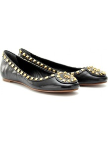 Dale Studded Leather Ballerinas - predominant colour: black; occasions: casual, work; material: leather; heel height: flat; embellishment: studs; toe: round toe; style: ballerinas / pumps; finish: plain; pattern: plain
