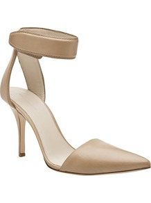 Liya Pump - predominant colour: champagne; occasions: evening, work, occasion; material: leather; heel height: high; ankle detail: ankle strap; heel: stiletto; toe: pointed toe; style: courts; finish: plain; pattern: plain