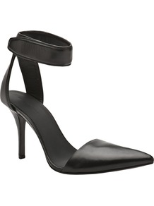 Liya Pump - predominant colour: black; occasions: evening, work, occasion; material: leather; heel height: high; ankle detail: ankle strap; heel: stiletto; toe: pointed toe; style: courts; finish: plain; pattern: plain