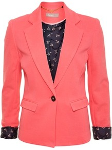 Coral Pique Jacket - pattern: plain; style: single breasted blazer; hip detail: side pockets at hip; collar: standard lapel/rever collar; predominant colour: coral; occasions: casual, evening, work, occasion; length: standard; fit: tailored/fitted; fibres: cotton - 100%; waist detail: fitted waist; back detail: back vent/flap at back; sleeve length: long sleeve; sleeve style: standard; texture group: cotton feel fabrics; trends: fluorescent; collar break: low/open; pattern type: fabric