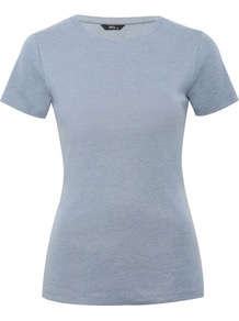 Women's Crew Neck T Shirt - pattern: plain; style: t-shirt; predominant colour: pale blue; occasions: casual; length: standard; fibres: cotton - 100%; fit: body skimming; neckline: crew; sleeve length: short sleeve; sleeve style: standard; pattern type: fabric; texture group: jersey - stretchy/drapey