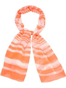 Bright Pink Striped Scarf - predominant colour: bright orange; occasions: casual, work; type of pattern: standard; style: regular; size: standard; material: fabric; pattern: horizontal stripes; trends: striking stripes