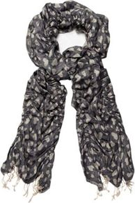 Blue Heart Jacquard Scarf - predominant colour: charcoal; secondary colour: light grey; occasions: casual, work, holiday; type of pattern: heavy; style: regular; size: standard; material: fabric; embellishment: fringing; trends: modern geometrics; pattern: patterned/print