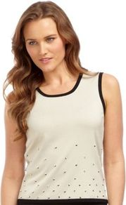 Embellished Oyster Knitted Top - neckline: round neck; pattern: plain; sleeve style: sleeveless; style: vest top; predominant colour: stone; occasions: casual, evening, work; length: standard; fibres: polyester/polyamide - stretch; fit: straight cut; sleeve length: sleeveless; texture group: knits/crochet; pattern type: knitted - fine stitch; pattern size: small & light; embellishment: beading