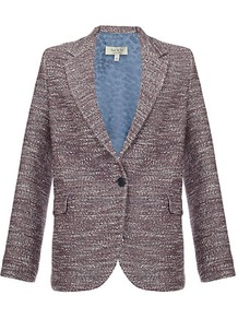 Tweed Jacket - style: single breasted blazer; hip detail: side pockets at hip; length: below the bottom; collar: standard lapel/rever collar; predominant colour: mid grey; occasions: casual, evening, work; fit: straight cut (boxy); fibres: cotton - mix; sleeve length: long sleeve; sleeve style: standard; collar break: low/open; pattern type: fabric; pattern size: standard; pattern: patterned/print; texture group: tweed - light/midweight