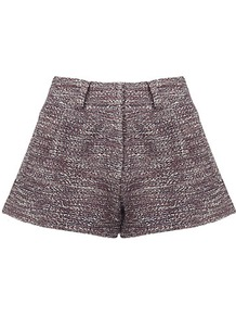 Tweed Shorts - style: shorts; waist detail: fitted waist; pocket detail: pockets at the sides; pattern: herringbone/tweed; length: short shorts; waist: mid/regular rise; predominant colour: purple; occasions: casual, evening, work; fibres: cotton - mix; fit: straight leg; pattern type: fabric; pattern size: small &amp; light; texture group: tweed - light/midweight