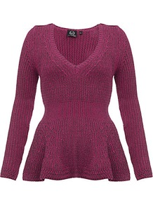 Peplum Jumper - neckline: v-neck; pattern: plain; style: standard; predominant colour: hot pink; occasions: casual, work; length: standard; fibres: cotton - mix; fit: slim fit; waist detail: peplum detail at waist; sleeve length: long sleeve; sleeve style: standard; texture group: knits/crochet; pattern type: knitted - big stitch; pattern size: standard