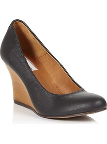 Orpheus Leather Wedge - predominant colour: black; occasions: casual, evening, work; material: leather; heel height: high; heel: wedge; toe: round toe; style: courts; finish: plain; pattern: plain