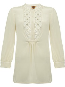 Petal Tunic - pattern: plain; bust detail: added detail/embellishment at bust; style: tunic; predominant colour: ivory; occasions: casual, work; length: standard; fibres: silk - 100%; fit: straight cut; neckline: crew; sleeve length: 3/4 length; sleeve style: standard; texture group: crepes; pattern type: fabric; pattern size: small &amp; light; embellishment: beading