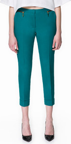 Cropped Trousers - pattern: plain; style: capri; pocket detail: small back pockets, pockets at the sides; waist: mid/regular rise; predominant colour: teal; occasions: casual, evening, work, holiday; length: calf length; fibres: cotton - stretch; jeans & bottoms detail: turn ups; fit: slim leg; pattern type: fabric; texture group: other - light to midweight