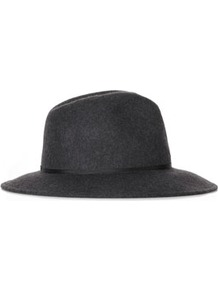 Marl Fedora Hat - predominant colour: charcoal; occasions: casual, evening, work; type of pattern: standard; style: fedora; size: standard; material: felt; embellishment: ribbon; pattern: plain