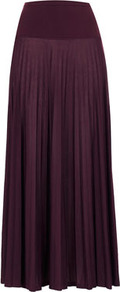 Petite Pleated Maxi Skirt - pattern: plain; fit: body skimming; waist detail: wide waistband/cummerbund; waist: high rise; predominant colour: aubergine; occasions: casual, evening, occasion; length: floor length; style: maxi skirt; fibres: polyester/polyamide - 100%; texture group: sheer fabrics/chiffon/organza etc.; pattern type: fabric
