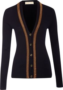 Women&#x27;s Long Sleeve Cardigan With Interlaced Chain, Navy - neckline: low v-neck; pattern: plain; bust detail: added detail/embellishment at bust; hip detail: fitted at hip; predominant colour: navy; occasions: casual, work; length: standard; style: standard; fibres: cotton - mix; fit: slim fit; waist detail: fitted waist; sleeve length: long sleeve; sleeve style: standard; texture group: knits/crochet; pattern type: knitted - other
