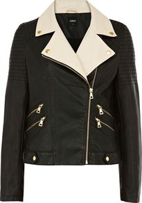 Women&#x27;s Colour Block Pu Biker, Black - style: biker; collar: asymmetric biker; fit: slim fit; hip detail: fitted at hip; predominant colour: black; occasions: casual, evening; length: standard; fibres: polyester/polyamide - 100%; sleeve length: long sleeve; sleeve style: standard; texture group: leather; collar break: medium; pattern type: fabric; pattern: colourblock