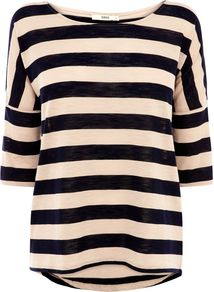 Women's Slub Casual Stripe Tee, Natural - neckline: round neck; pattern: horizontal stripes; style: t-shirt; predominant colour: nude; occasions: casual, work; length: standard; fibres: cotton - mix; fit: body skimming; sleeve length: half sleeve; sleeve style: standard; trends: striking stripes; pattern type: fabric; pattern size: big & busy; texture group: jersey - stretchy/drapey