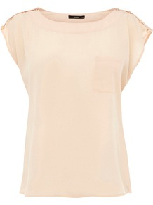 Women's Button Shoulder Tshirt, Stone - neckline: round neck; sleeve style: capped; pattern: plain; style: t-shirt; predominant colour: nude; occasions: casual, evening, work; length: standard; fibres: polyester/polyamide - 100%; fit: straight cut; shoulder detail: added shoulder detail; sleeve length: short sleeve; texture group: sheer fabrics/chiffon/organza etc.; pattern type: fabric; pattern size: standard
