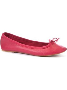 Red Ballet Pumps - predominant colour: coral; occasions: casual, work, holiday; material: faux leather; heel height: flat; toe: round toe; style: ballerinas / pumps; trends: fluorescent; finish: plain; pattern: plain; embellishment: bow