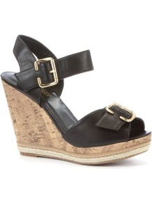 Black Buckle Wedges - predominant colour: black; occasions: casual, holiday; material: faux leather; heel height: high; embellishment: buckles; ankle detail: ankle strap; heel: wedge; toe: open toe/peeptoe; style: standard; finish: plain; pattern: plain