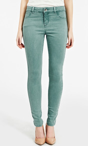 Jade Lightweight Skinny Jean - pattern: plain; pocket detail: traditional 5 pocket; waist: mid/regular rise; predominant colour: pistachio; occasions: casual, holiday; length: ankle length; fibres: cotton - stretch; texture group: denim; fit: skinny/tight leg; pattern type: fabric; style: standard