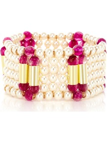 Edith Pearl Bracelet - secondary colour: ivory; predominant colour: hot pink; occasions: evening, work, occasion, holiday; style: cuff; size: large/oversized; material: plastic/rubber; finish: plain; embellishment: pearls