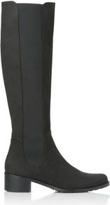 Tilly Leather Knee High Boot Black - predominant colour: black; occasions: casual, evening, work; material: leather; heel height: mid; embellishment: elasticated; heel: block; toe: round toe; boot length: knee; style: standard; finish: plain; pattern: plain