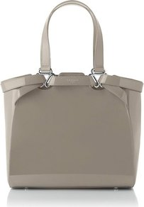 Mae Patent Leather Large Tote Grey Clay - predominant colour: taupe; occasions: casual, evening, work, holiday; type of pattern: standard; style: tote; length: handle; size: standard; material: leather; pattern: plain; finish: patent; embellishment: chain/metal