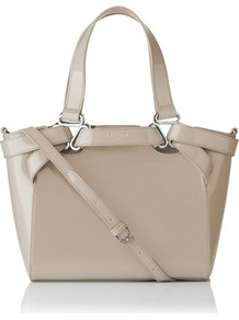 Marnie Patent Leather Small Tote White Off White - predominant colour: taupe; secondary colour: silver; occasions: casual, evening, work, occasion; type of pattern: standard; style: tote; length: handle; size: standard; material: leather; pattern: plain; finish: plain; embellishment: chain/metal