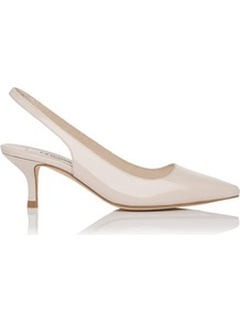 Bree Point Toe Kitten Heel White Off White - predominant colour: ivory; occasions: evening, work, occasion; material: leather; heel height: mid; ankle detail: ankle strap; heel: kitten; toe: pointed toe; style: slingbacks; finish: patent; pattern: plain