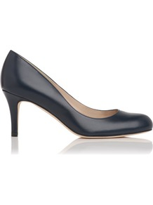 Sabira Leather Court Shoe Blue Navy - predominant colour: navy; occasions: evening, work, occasion; material: leather; heel height: mid; heel: stiletto; toe: round toe; style: courts; finish: plain; pattern: plain