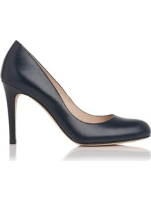 Shilo Leather Court Shoe Blue Navy - predominant colour: navy; occasions: evening, work, occasion; material: leather; heel height: high; heel: stiletto; toe: round toe; style: courts; finish: plain; pattern: plain