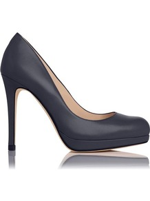 Sledge Leather Platform Court Shoe Blue Navy - predominant colour: navy; occasions: evening, work, occasion; material: leather; heel: stiletto; toe: round toe; style: courts; finish: plain; pattern: plain; heel height: very high