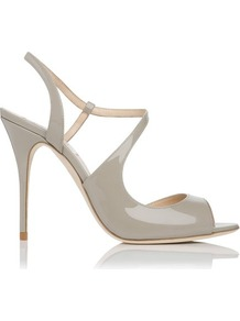 Palma Patent Leather Asymmetric Strappy Sandal Grey Clay - predominant colour: light grey; occasions: evening, work, occasion; material: leather; heel height: high; heel: stiletto; toe: open toe/peeptoe; style: strappy; finish: patent; pattern: plain