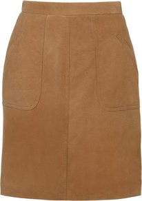 Dover Suede Skirt Tan - pattern: plain; style: straight; waist detail: fitted waist; waist: high rise; hip detail: fitted at hip; predominant colour: tan; occasions: casual, evening, work; length: just above the knee; fibres: leather - 100%; fit: straight cut; pattern type: fabric; texture group: suede