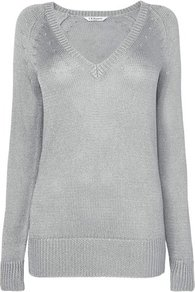 Edith Metallic Sweater Silver - neckline: v-neck; length: below the bottom; style: standard; hip detail: fitted at hip; predominant colour: silver; occasions: casual, work; fibres: polyester/polyamide - 100%; fit: standard fit; sleeve length: long sleeve; sleeve style: standard; texture group: knits/crochet; trends: metallics; pattern type: knitted - other; pattern size: standard