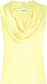 Reed Cowl Neck Sleeveless Top Yellow Lemon - neckline: cowl/draped neck; pattern: plain; sleeve style: sleeveless; hip detail: fitted at hip; bust detail: ruching/gathering/draping/layers/pintuck pleats at bust; predominant colour: primrose yellow; occasions: casual, evening, work; length: standard; style: top; fibres: silk - 100%; fit: straight cut; shoulder detail: flat/draping pleats/ruching/gathering at shoulder; sleeve length: sleeveless; texture group: silky - light; pattern type: fabric; pattern size: standard
