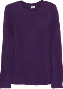 Seamed Cashmere Sweater - pattern: plain; length: below the bottom; style: standard; hip detail: fitted at hip; predominant colour: purple; occasions: casual, work; fit: standard fit; neckline: crew; fibres: cashmere - 100%; sleeve length: long sleeve; sleeve style: standard; texture group: knits/crochet; pattern type: knitted - other