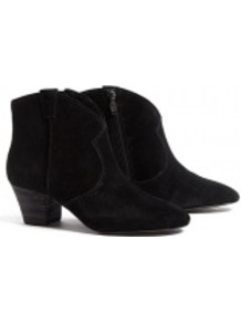 Black Spiral Suede Ankle Boots - predominant colour: black; occasions: casual; material: suede; heel height: mid; embellishment: zips; heel: block; toe: round toe; boot length: ankle boot; style: cowboy; finish: plain; pattern: plain