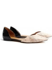 Devon D'orsay Two Tone Flat Shoes - predominant colour: ivory; secondary colour: black; occasions: casual, evening, work, holiday; material: leather; heel height: flat; toe: pointed toe; style: ballerinas / pumps; finish: plain; pattern: colourblock