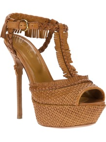 Fringed Stiletto Sandal - predominant colour: tan; occasions: evening, occasion, holiday; material: leather; ankle detail: ankle strap; heel: platform; toe: open toe/peeptoe; style: standard; finish: plain; pattern: plain; embellishment: fringing; heel height: very high
