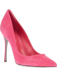 Pointed Toe Pump - predominant colour: pink; occasions: evening, work, occasion; material: suede; heel height: high; heel: stiletto; toe: pointed toe; style: courts; trends: fluorescent; finish: plain; pattern: plain