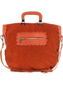 Suede And Leather Shopper Bag With Scallop Detail - predominant colour: terracotta; occasions: casual, evening, work; type of pattern: light; style: tote; length: handle; size: standard; material: suede; embellishment: zips; pattern: plain; finish: plain