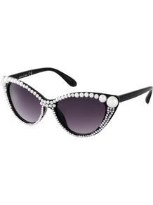 All Over Pearl Cat Eye Sunglasses - predominant colour: black; occasions: casual; style: cateye; size: standard; material: plastic/rubber; embellishment: beading; pattern: plain; finish: plain